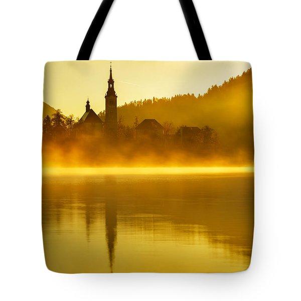 Misty Lake Bled At Sunrise Tote Bag
