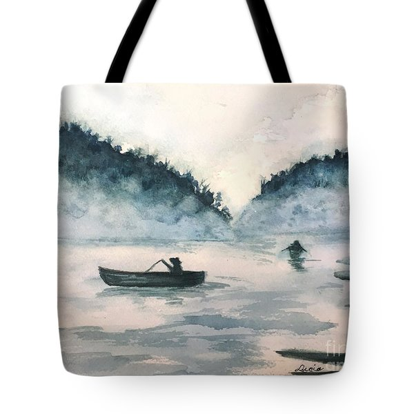 Misty Lake Tote Bag by Lucia Grilletto