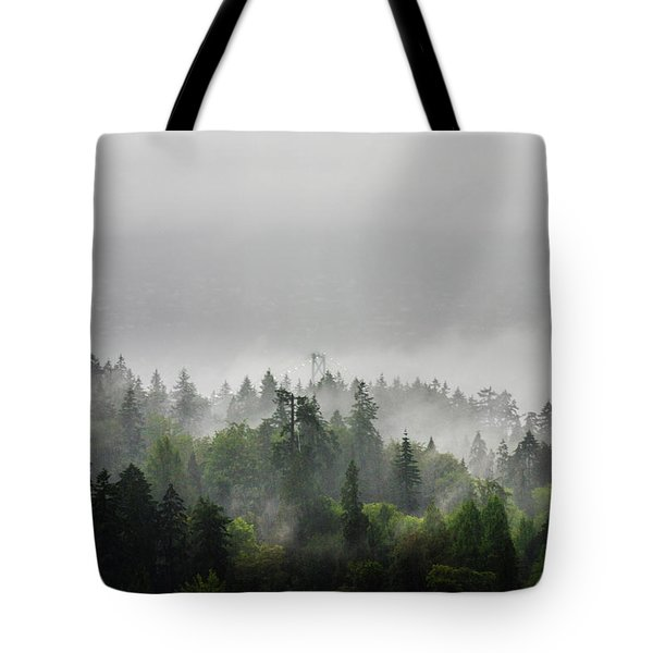 Misty Lions Gate View Tote Bag
