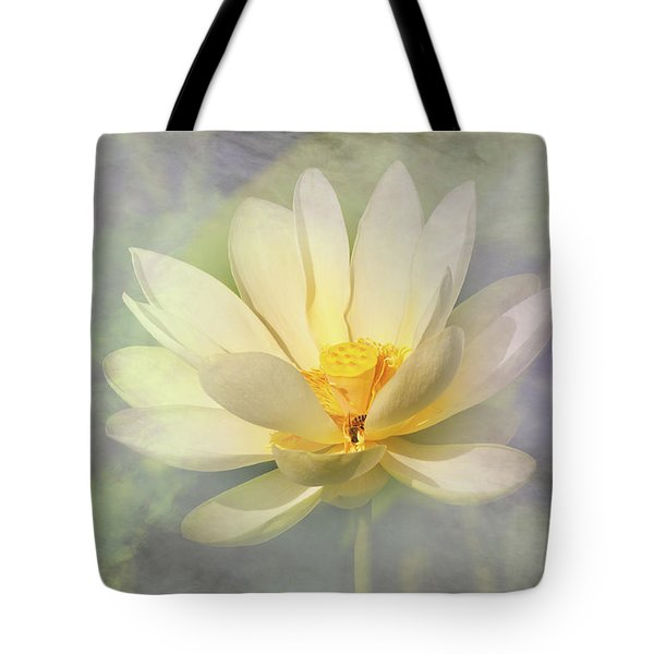 Misty Lotus Tote Bag by Carolyn Dalessandro