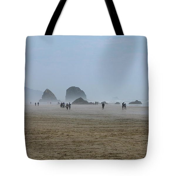 Misty Morning At Cannon Beach Tote Bag by Christiane Schulze Art And Photography