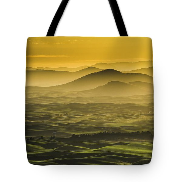 Misty Morning At Palouse. Tote Bag