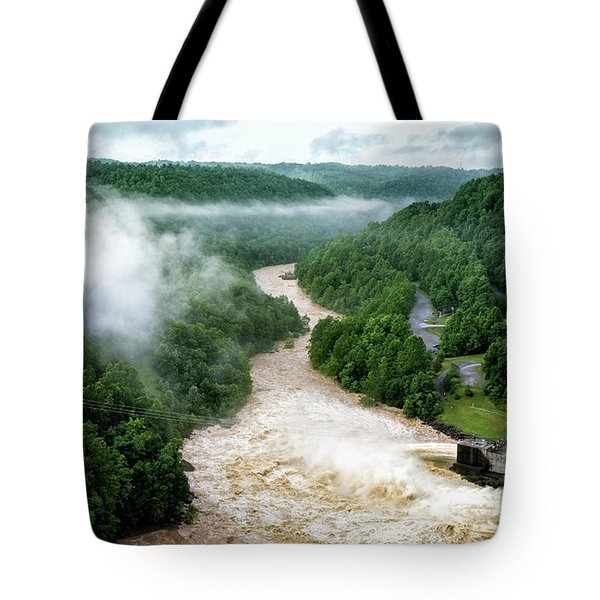 Misty Morning At Summersville Lake Dam Tote Bag