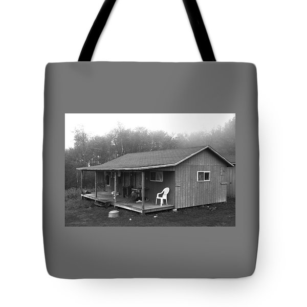 Misty Morning At The Cabin Tote Bag