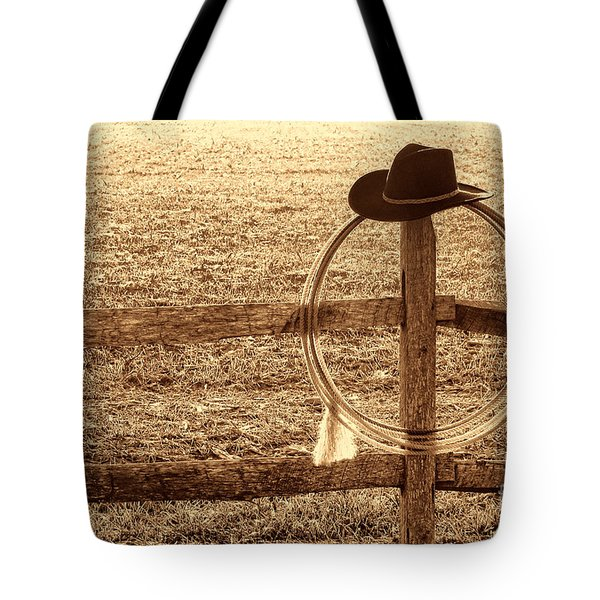 Misty Morning At The Ranch Tote Bag