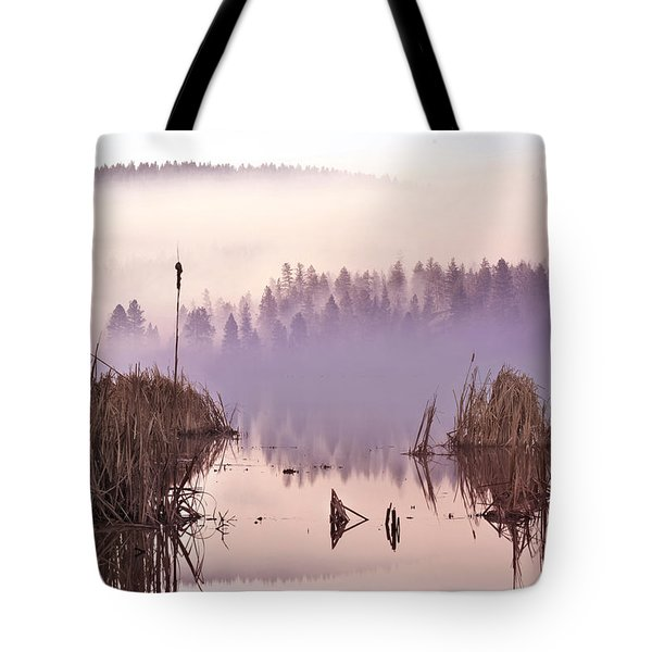 Misty Morning At Vaseux Lake Tote Bag