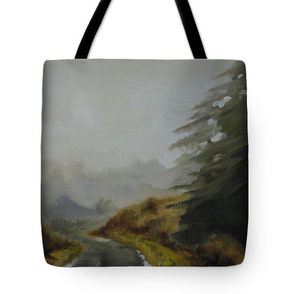 Tote Bag featuring the painting Misty Morning, Benevenagh by Barry Williamson