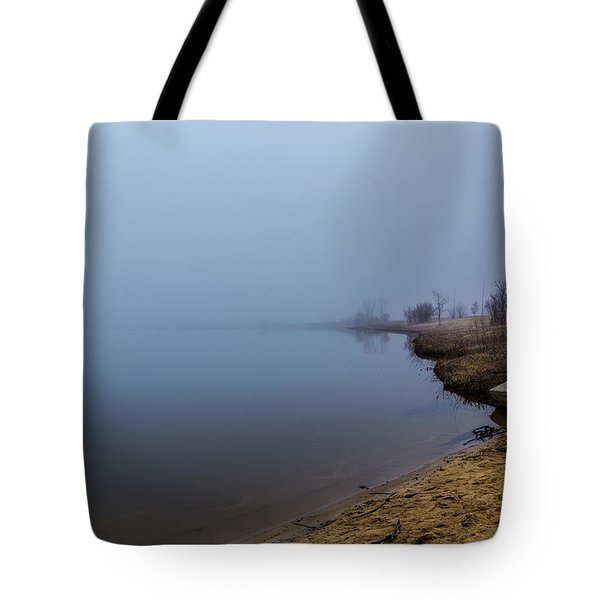 Misty Morning By The Lake Tote Bag