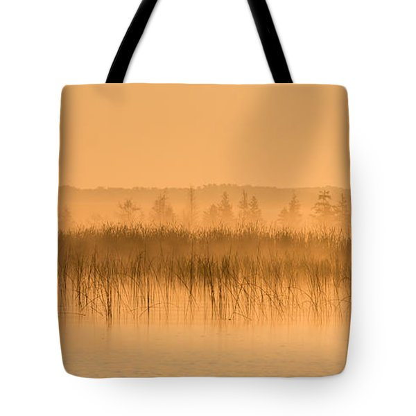 Tote Bag featuring the photograph Misty Morning Floating Bog Island On Boy Lake by Patti Deters