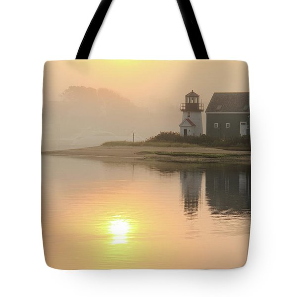 Misty Morning Hyannis Harbor Lighthouse Tote Bag