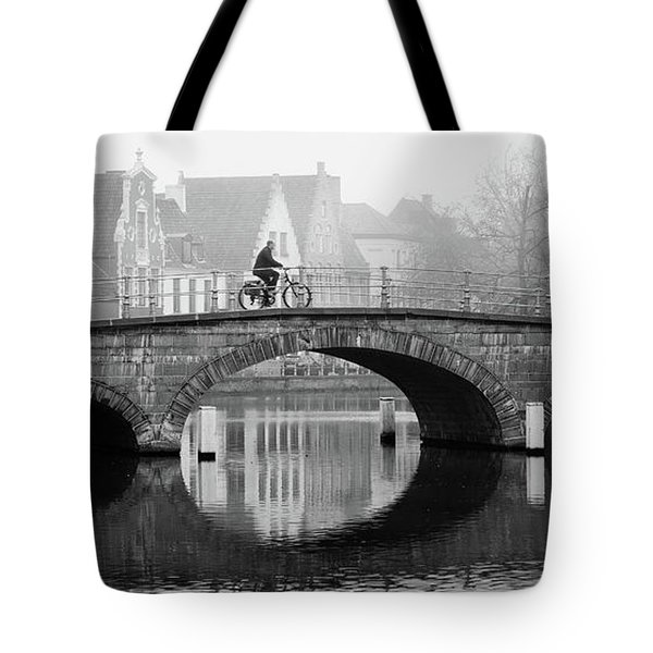 Misty Morning In Bruges  Tote Bag