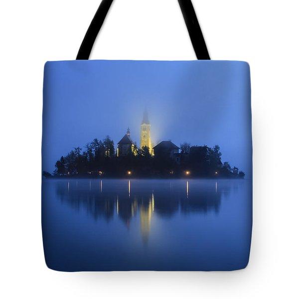 Misty Morning Lake Bled Slovenia Tote Bag