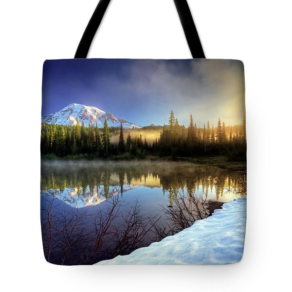 Misty Morning Lake Tote Bag