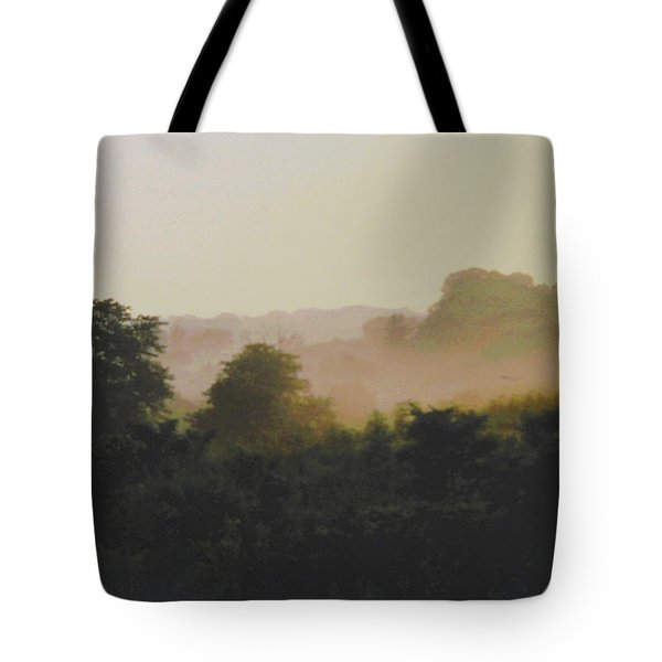 Misty Morning Maryland Landscape Original Fine Art Painting Tote Bag