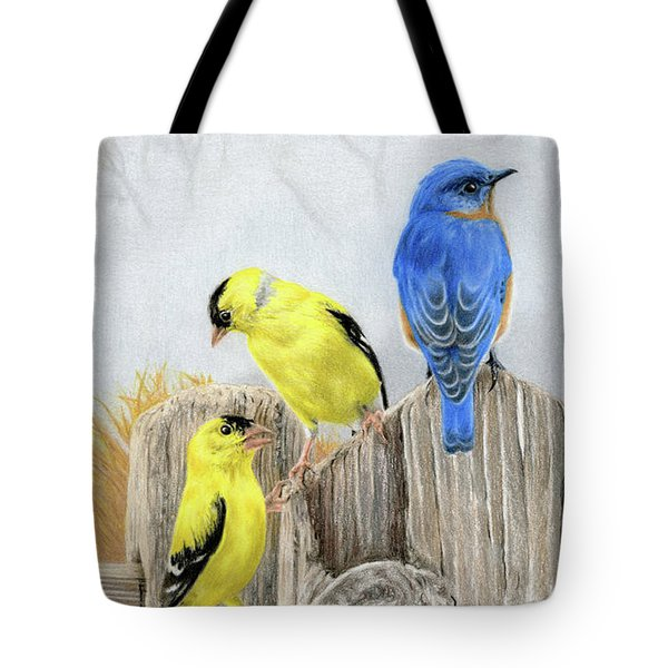 Misty Morning Meadow- Goldfinches And Bluebird Tote Bag