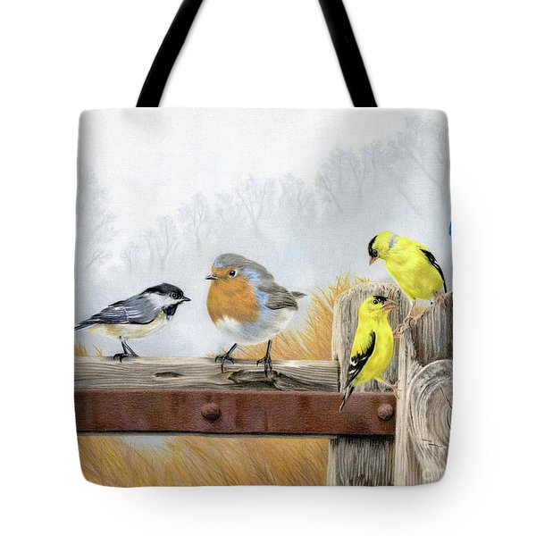 Misty Morning Meadow Tote Bag