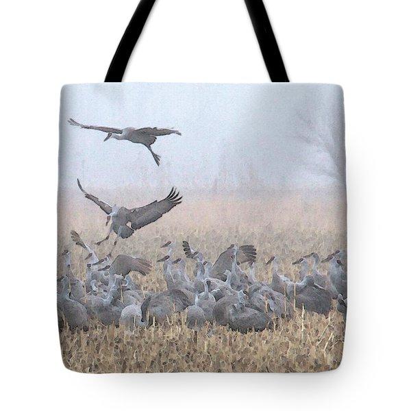 Misty Morning Nebraska Landing Tote Bag