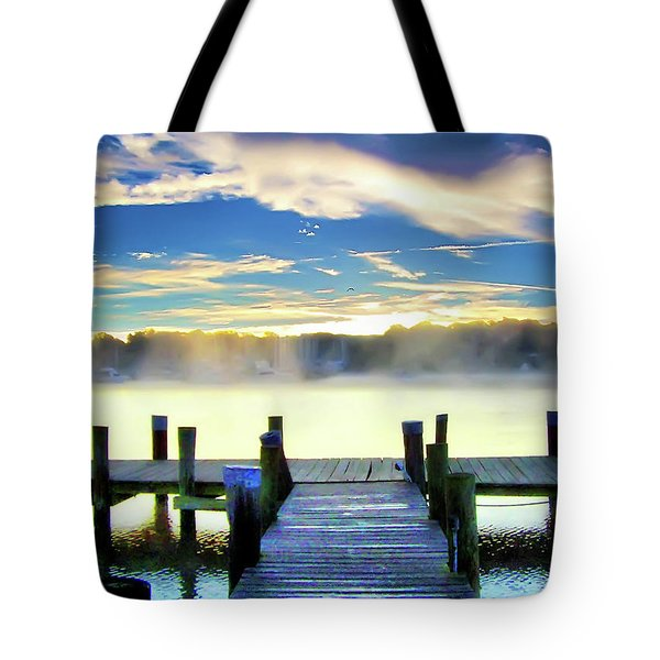 Tote Bag featuring the photograph Misty Morning On Rock Creek by Brian Wallace