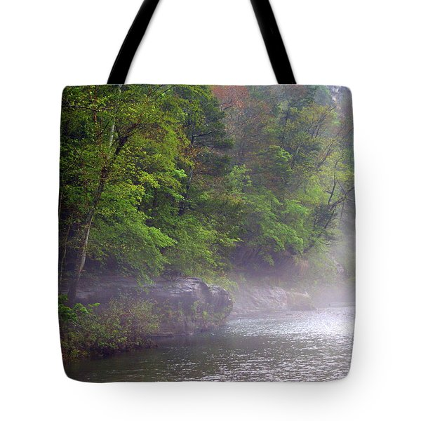 Misty Morning On The Buffalo Tote Bag by Marty Koch