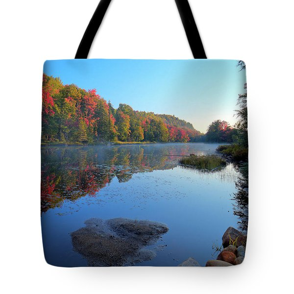 Misty Morning On The Pond Tote Bag