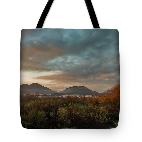 Misty Morning Over The San Diego River Tote Bag