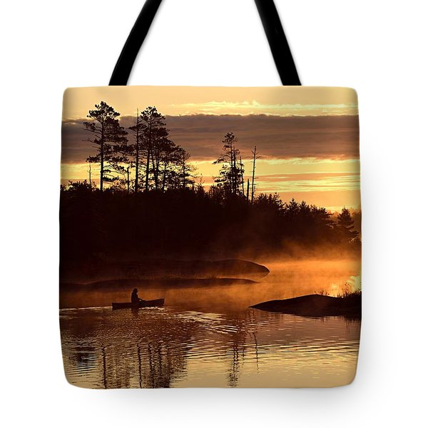 Tote Bag featuring the photograph Misty Morning Paddle by Larry Ricker