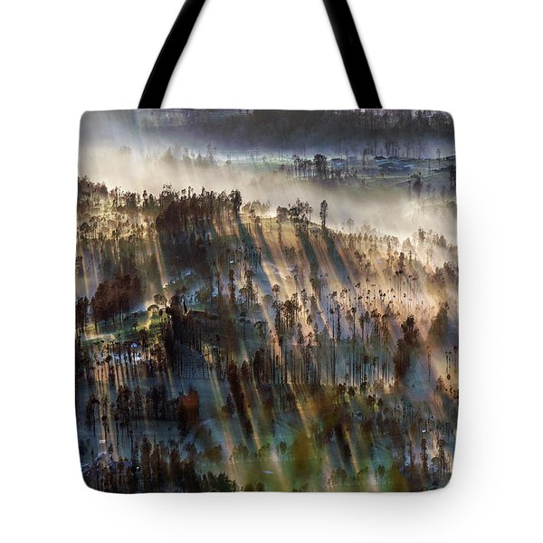 Tote Bag featuring the photograph Misty Morning by Pradeep Raja Prints