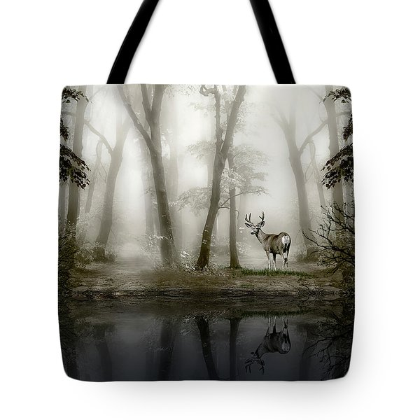 Misty Morning Reflections Tote Bag