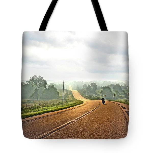 Misty Morning Ride Arkansas Tote Bag