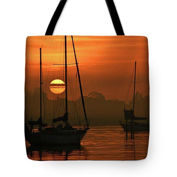 Misty Morning Sunrise Tote Bag