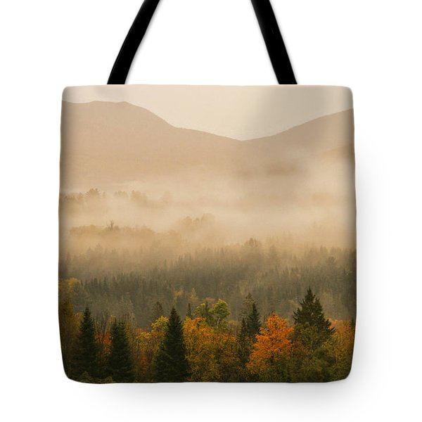 Misty Morning Sunrise Over White Mountains National Forest Tote Bag