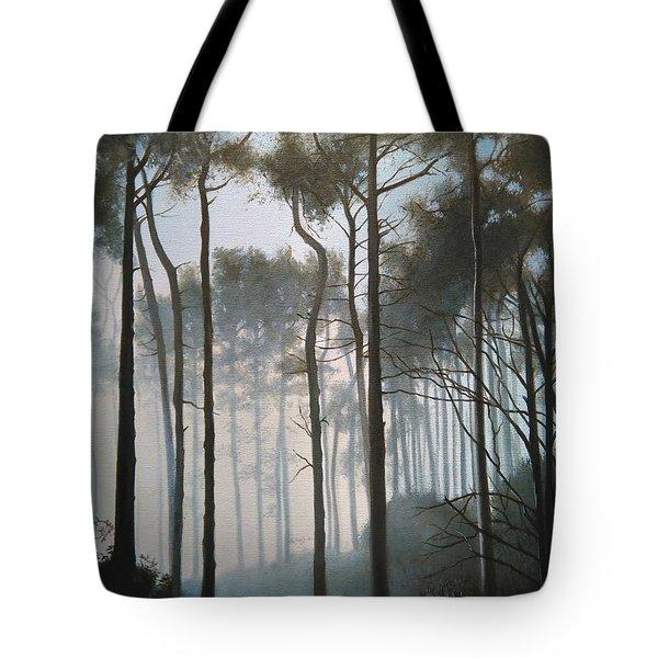 Misty Morning Walk Tote Bag