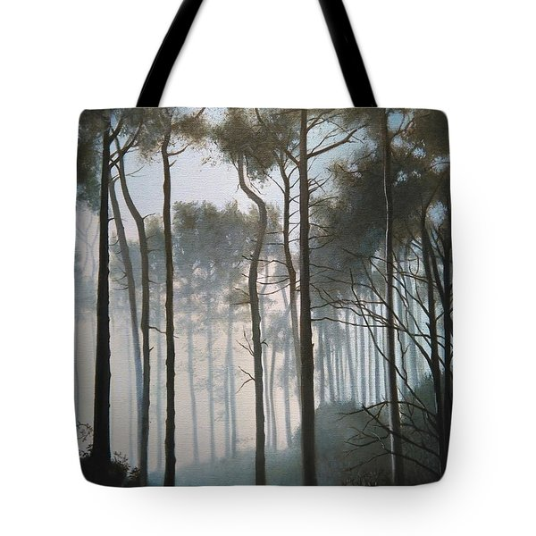 Misty Morning Walk Tote Bag