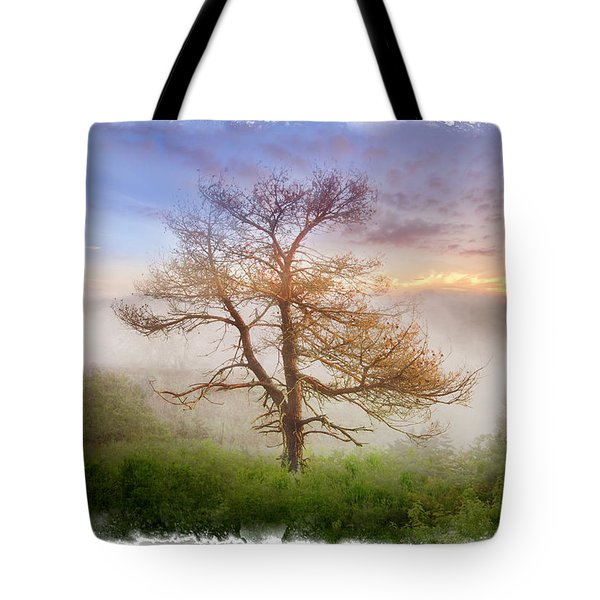 Misty Mountain Tote Bag by Debra and Dave Vanderlaan