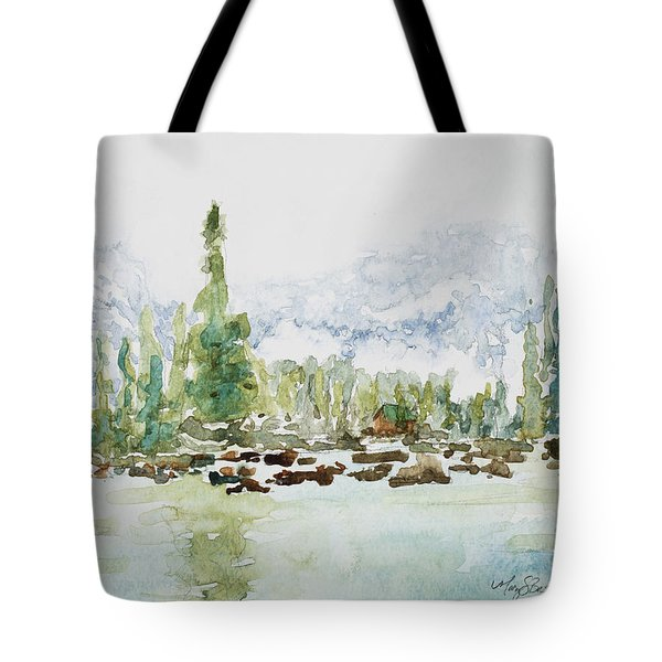 Misty Mountain Lake Tote Bag by Mary Benke