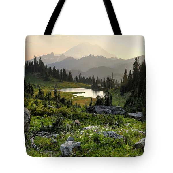 Misty Mountain Landscape Tote Bag