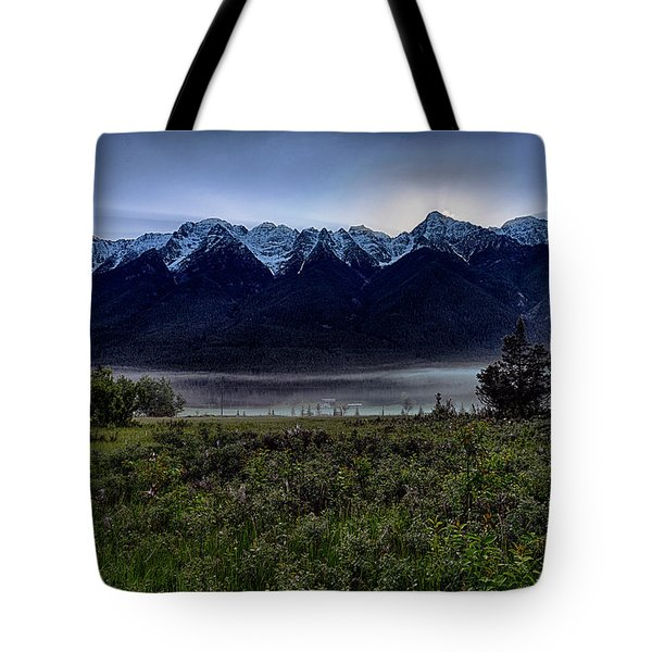 Tote Bag featuring the photograph Misty Mountain Morning Meadow  by Darcy Michaelchuk