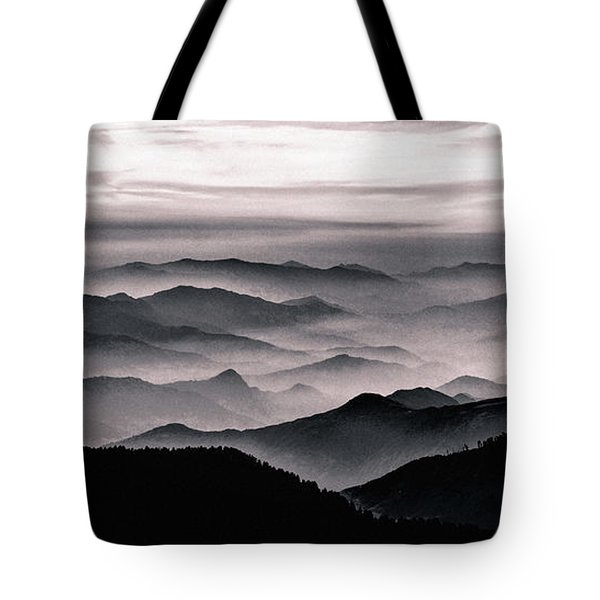 Tote Bag featuring the mixed media Misty Mountain Noir by Susan Maxwell Schmidt