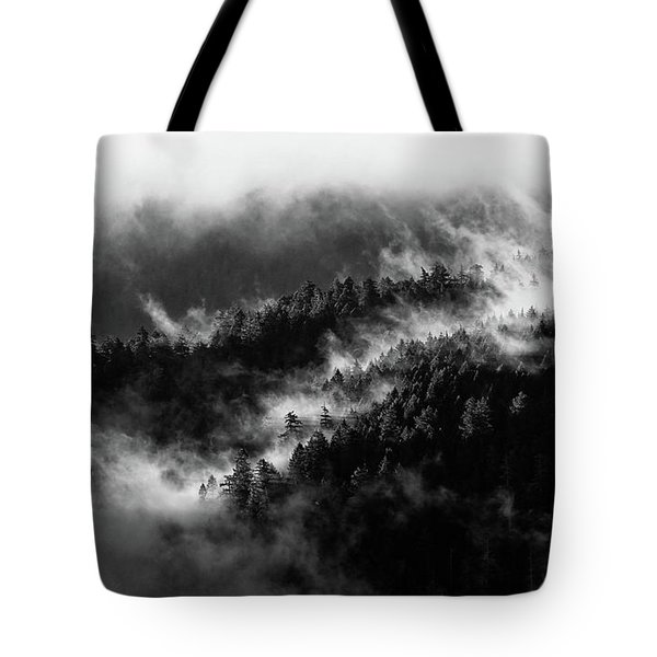Tote Bag featuring the photograph Misty Mountain Pines by Michael Hope