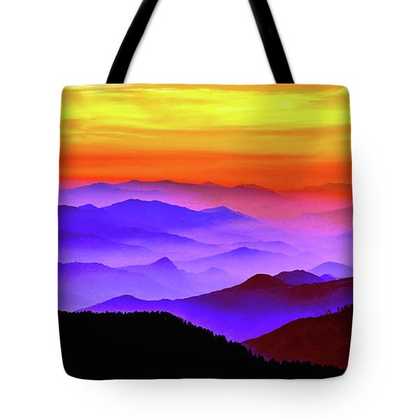 Tote Bag featuring the mixed media Misty Mountains Sunset by Susan Maxwell Schmidt