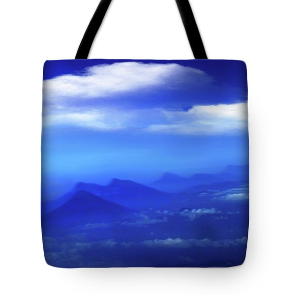Misty Mountains Of San Salvador Panorama Tote Bag by Al Bourassa