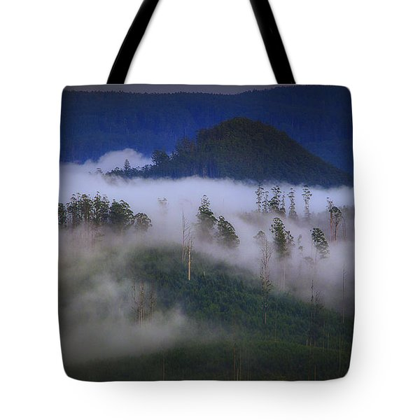 Tote Bag featuring the photograph Misty Mountains by Tim Nichols