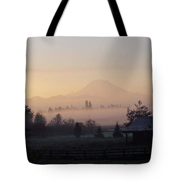 Misty Mt. Rainier Sunrise Tote Bag