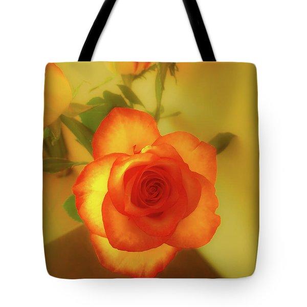 Misty Orange Rose Tote Bag