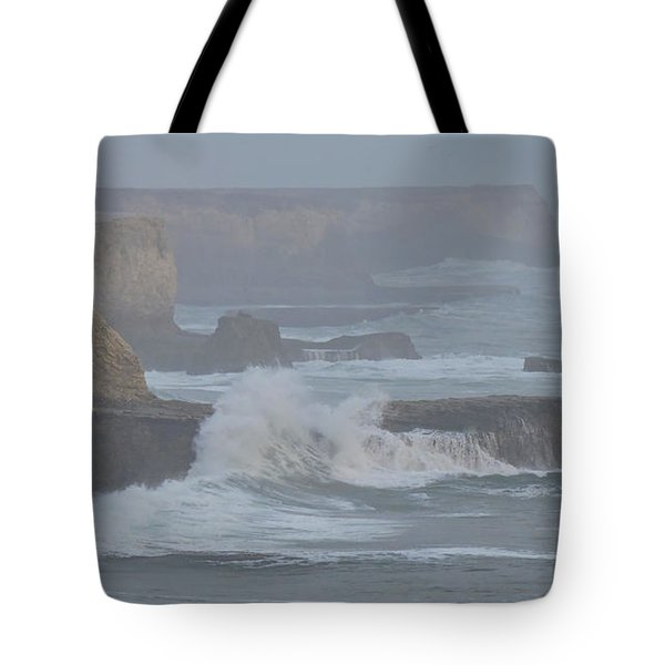 Misty Pacific Cliffs Tote Bag
