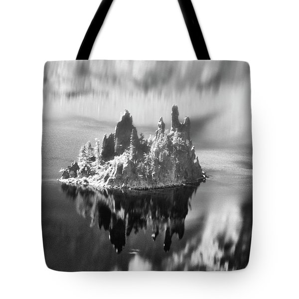 Tote Bag featuring the photograph Misty Phantom Ship Island Crater Lake B W  by Frank Wilson