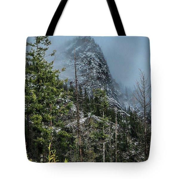 Misty Pinnacle Tote Bag