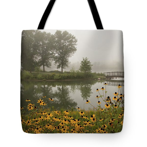 Tote Bag featuring the photograph Misty Pond Bridge Reflection #3 by Patti Deters