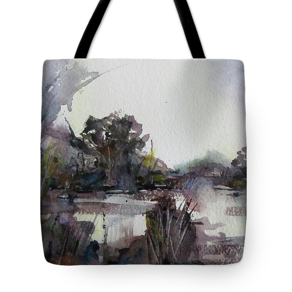 Misty Pond Tote Bag by Geni Gorani