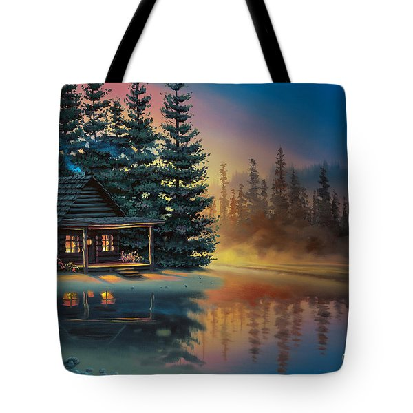Tote Bag featuring the painting Misty Refection by Al Hogue